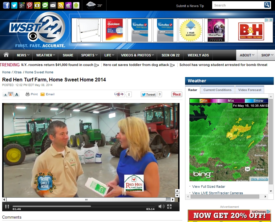 CLICK on this SCREEN SHOT to Take the WSBT Home Sweet Home Video Tour of Red Hen Turf Farm