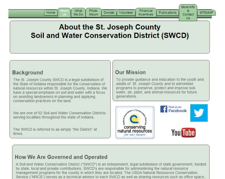 Screenshot - About the St. Joseph County Soil & Water Conservation District